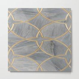Gray Gold Moraccan Style Pattern Metal Print