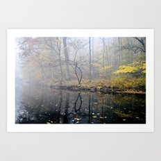 mist on the river Art Print