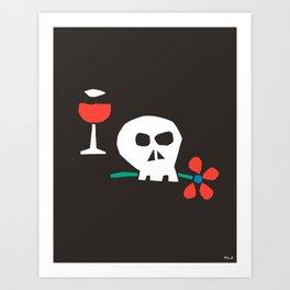 Drunk Skull Art Print