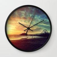 santa monica Wall Clocks featuring Santa Monica Sunset by Michali's Studio