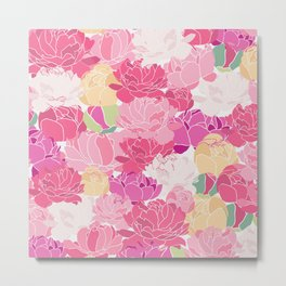 Bunch of Colorful Peonies Flowers Pattern Metal Print