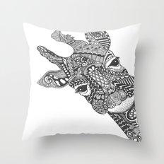 Zentangle Giraffe Throw Pillow