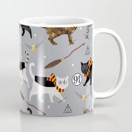 Cat wizard cats wizard school pattern Kaffeebecher