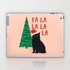 Black Cat cute fa la la christmas xmas tree holiday funny cat art cat lady gift unique pet gifts Laptop & iPad Skin