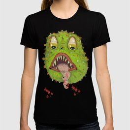 green monster with flies comic horror T-shirt
