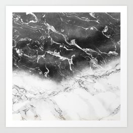 Modern black and white marble ombre watercolor color block Art Print