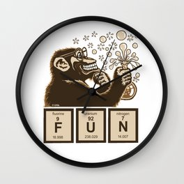Chemistry monkey discovered fun Wall Clock