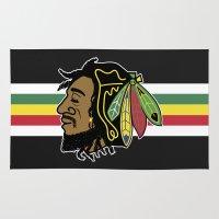 blackhawks Area & Throw Rugs featuring Rastafarian Blackhawk by beejammerican