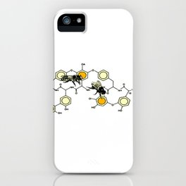 Bees making honey on macromolecular structure as a bee house  iPhone Case