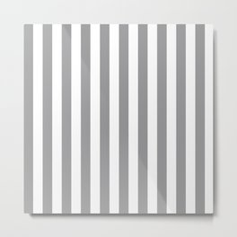 Vertical Stripes Gray & White Metal Print