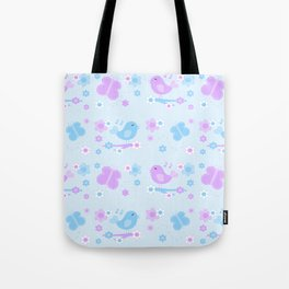 Chickadee Bird Butterfly Floral Purple Lavender Blue Tote Bag