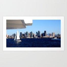 San Diego Skyline and Sailboat Art Print