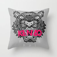 kenzo Throw Pillows featuring KENZO Tiger, pink letters by cvrcak