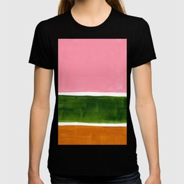 Colorful Minimalist Mid Century Modern Shapes Pink Olive Green Yellow Ochre Rothko Minimalist Square T-shirt