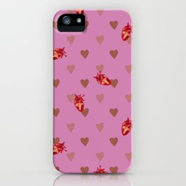 Mauve Heart Pattern iPhone Case