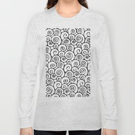 Modern Black and White Abstract Swirly Pattern Long Sleeve T-shirt
