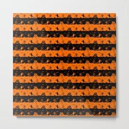 Dark Pumpkin Orange and Black Halloween Nightmare Stripes Metal Print