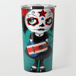 Day of the Dead Girl Playing Costa Rican Flag Guitar Travel Mug