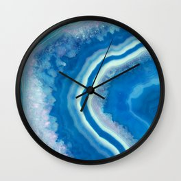 Teal and violet agate Wall Clock