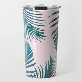 Green Palm Leaves on Light Pink Travel Mug