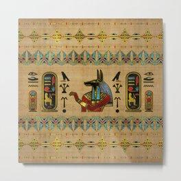 Egyptian Anubis Ornament on papyrus Metal Print