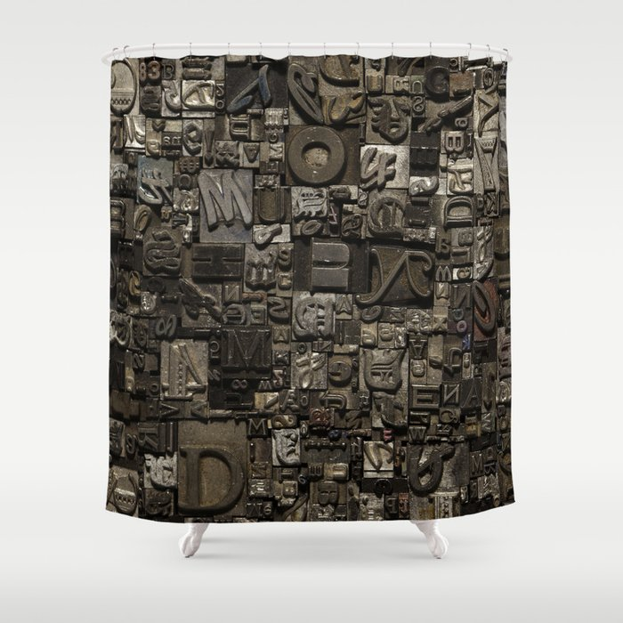 Type Collage Shower Curtain By Headcasepress