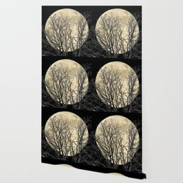 Tree with Crow Against Full Moon A181 Wallpaper