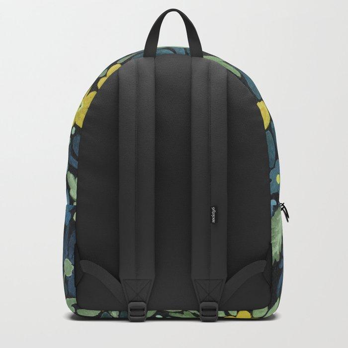Watercolor . Blue daisies . Backpack