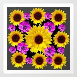 PURPLE FLOWERS & SUNFLOWERS DECO ART Art Print