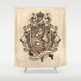 Tiger Coat Of Arms Heraldry Shower Curtain