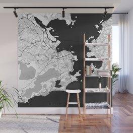 Rio de Janeiro City Map Gray Wall Mural