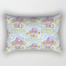 Whimsical Mushroom House Rectangular Pillow