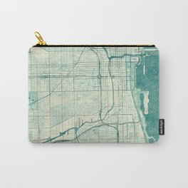 Chicago Map Blue Vintage Carry-All Pouch
