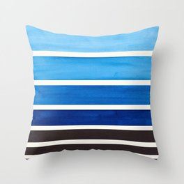 Blue Minimalist Mid Century Modern Color Fields Ombre Watercolor Staggered Squares Throw Pillow