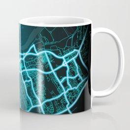 Middlesbrough, England, Blue, White, Neon, Glow, City, Map Coffee Mug