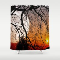 sun and moon Shower Curtains featuring Sun, moon and stars  by pinopics