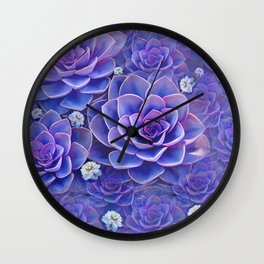 """Bouquet of pastel violet exotic succulents"" Wall Clock"