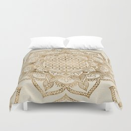 Flower of Life in Lotus - pastel golds and canvas Duvet Cover