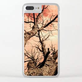The Reaching Red Branch Tree Art in Nature Modern Forest Abstract Clear iPhone Case