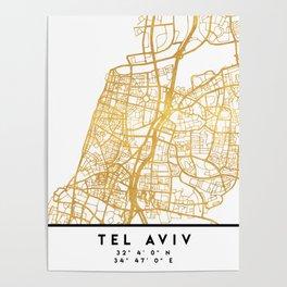 TEL AVIV ISRAEL CITY STREET MAP ART Poster