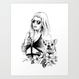 Ice Cream Bulldog Art Print