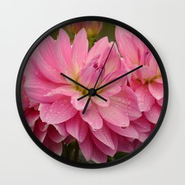 Fresh Rain Drops - Pink Dahlia Wall Clock