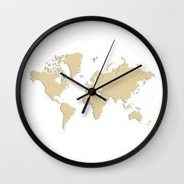 World with no Borders - sandalwood Wall Clock