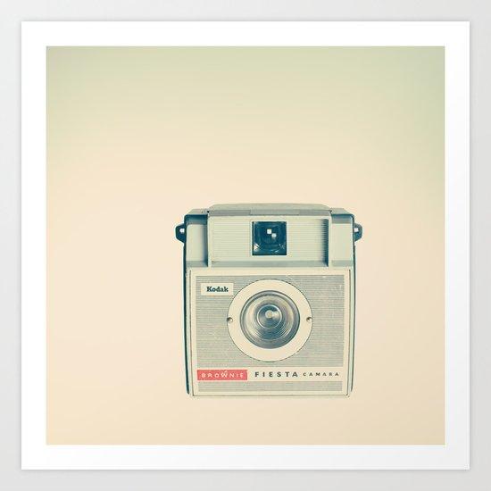 Fiesta - Beige Brownie Retro Vintage Camera Art Print