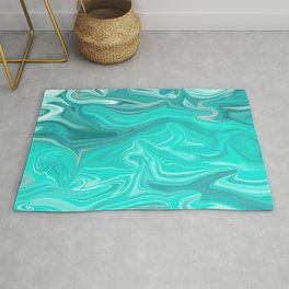 Turquoise Marble Texture Rug