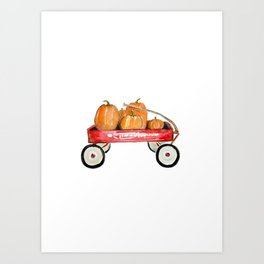 Red wagon watercolor  Art Print