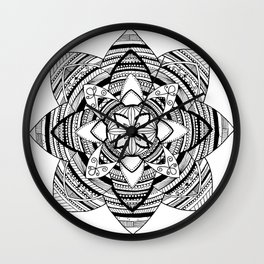 Wild black mandala on white Wall Clock