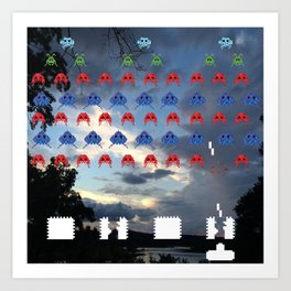 Space Invasion on the Lake Art Print