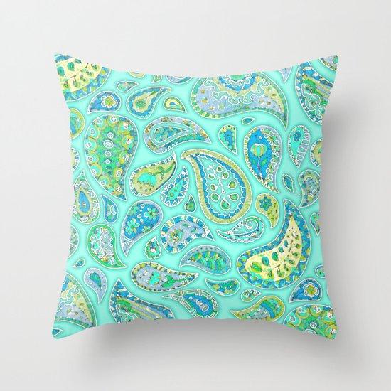 Lemon, Mint and Lime Paisley Throw Pillow