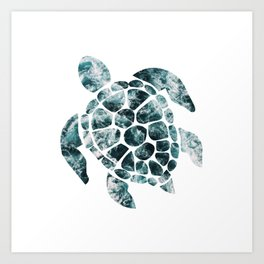Sea Turtle - Turquoise Ocean Waves Art Print